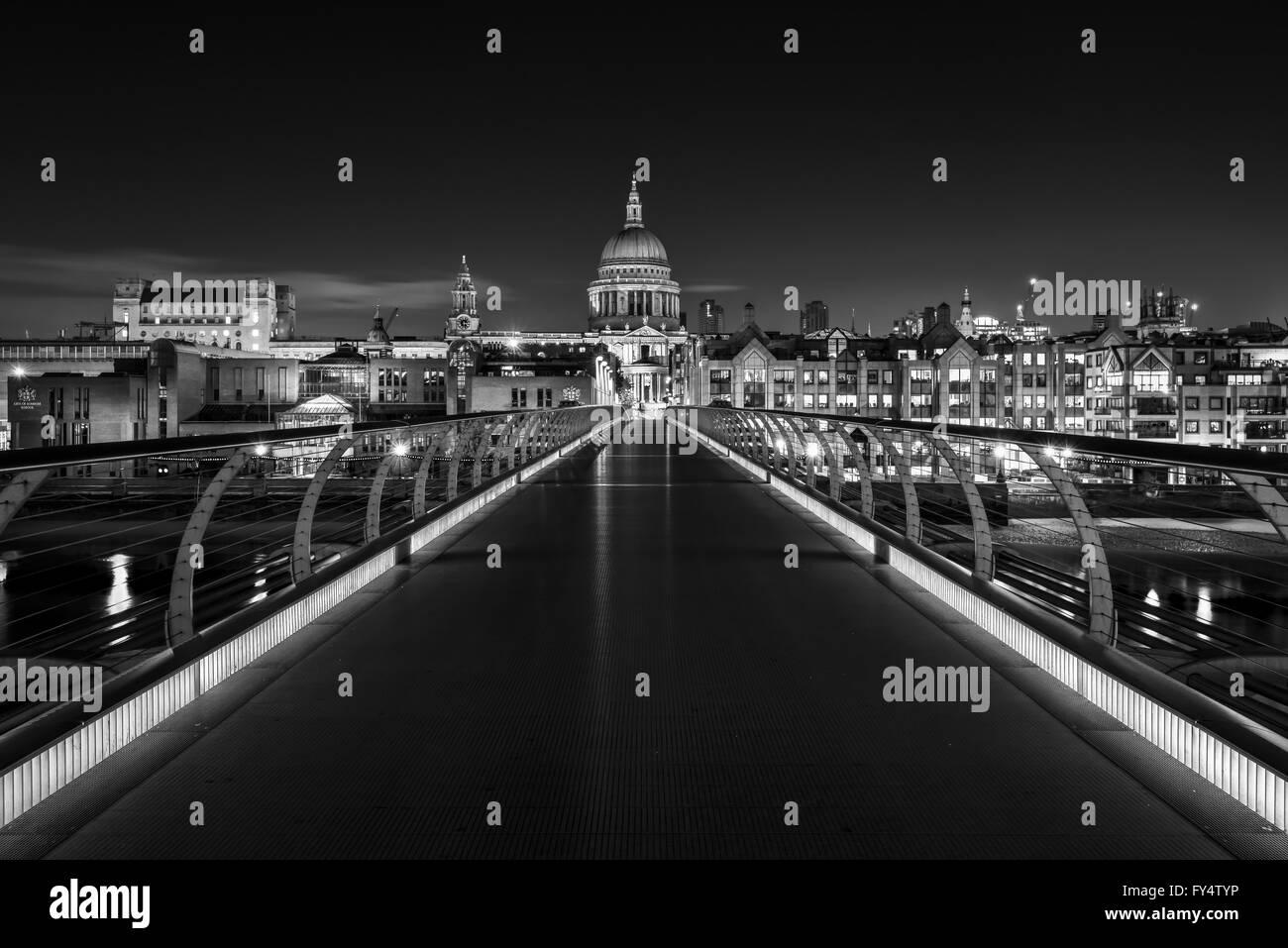 St Paul's Cathedral and Millennium Bridge, London, United Kingdom - Stock Image