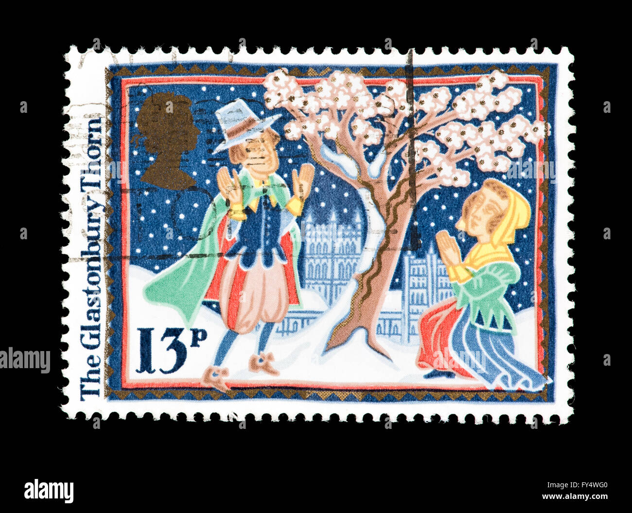 Postage stamp from Great Britain depicting the Glastonbury