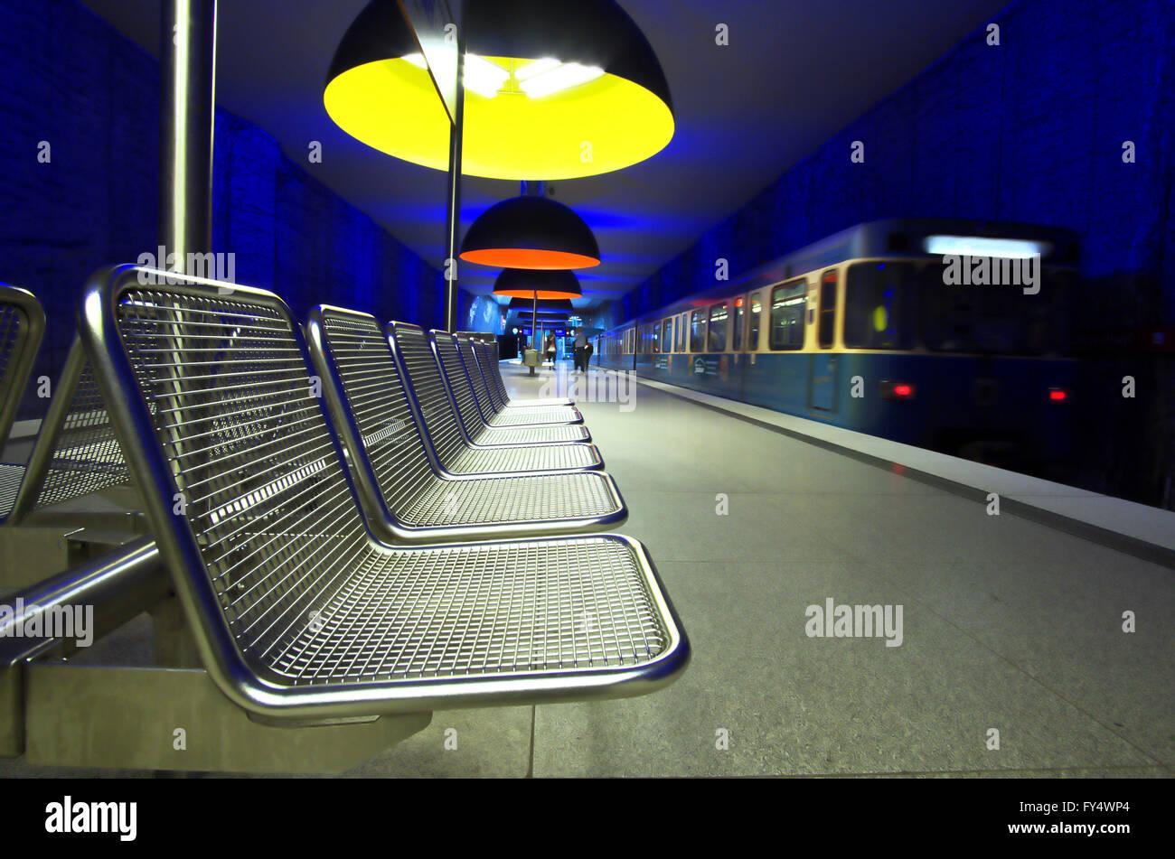 Munich underground station Westfriedhof Stock Photo