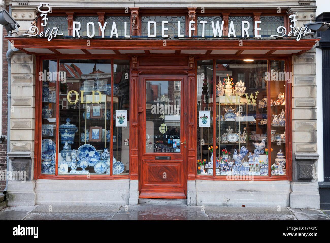 Shop selling Delft porcelain, Delftware or Delft pottery, Delft, Holland, The Netherlands - Stock Image