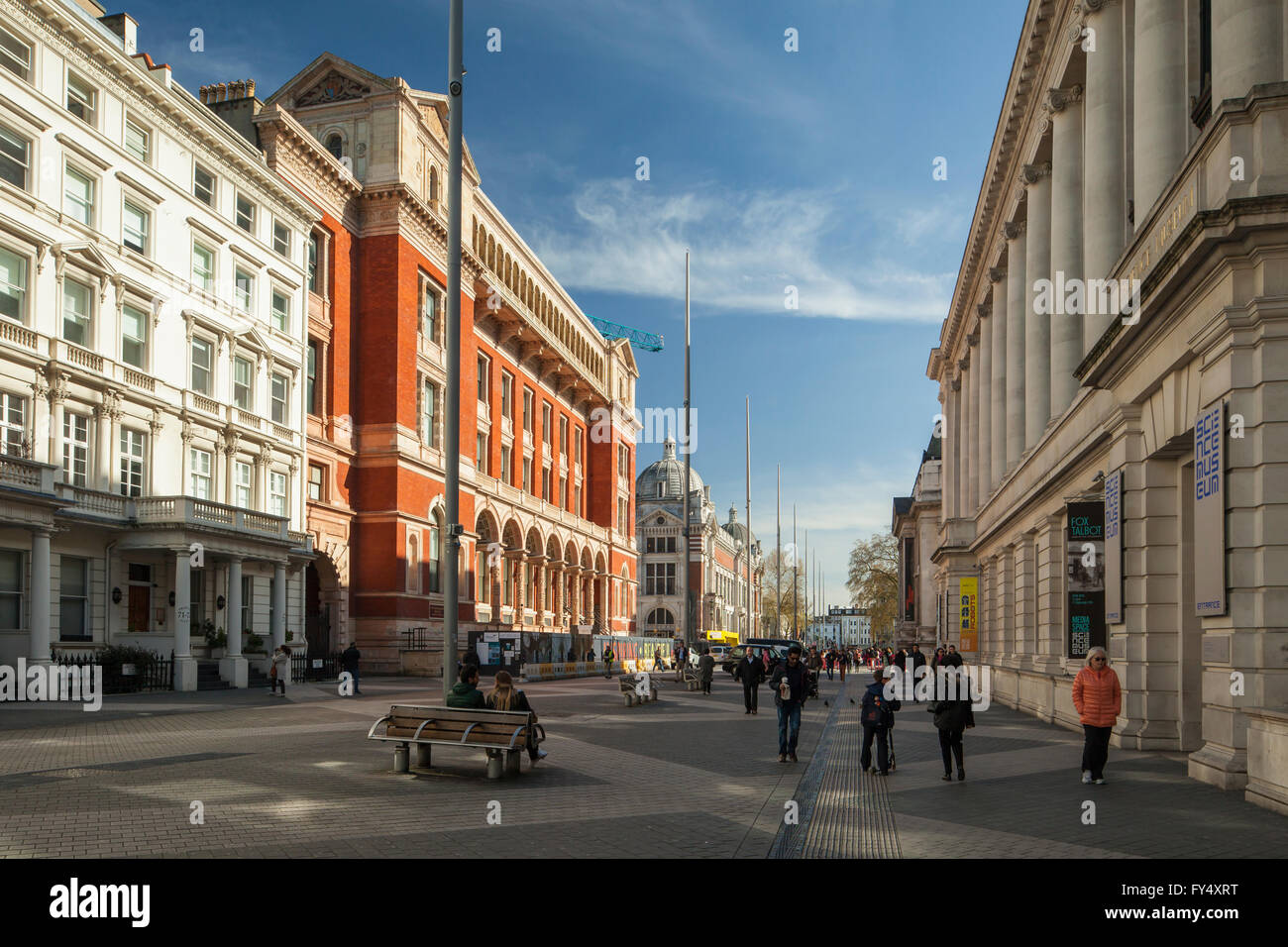 Exhibition Road in London, England. Looking towards Victoria and Albert Museum building. - Stock Image