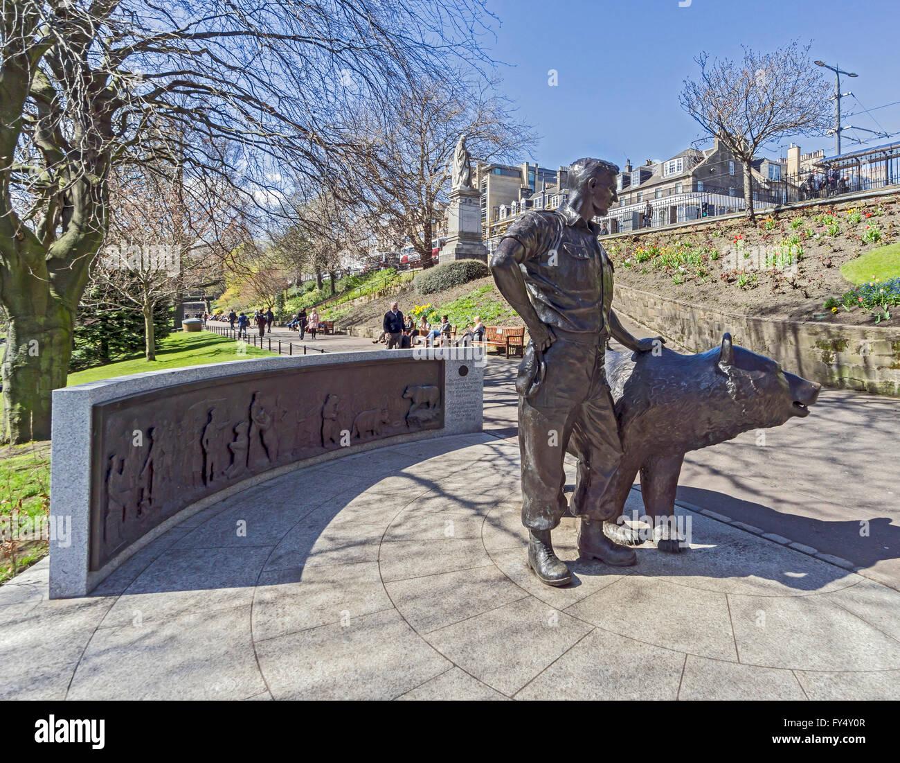 Polish Wojtek   The Soldier Bear Statue Memorial In Princes Street Gardens  East Edinburgh Scotland