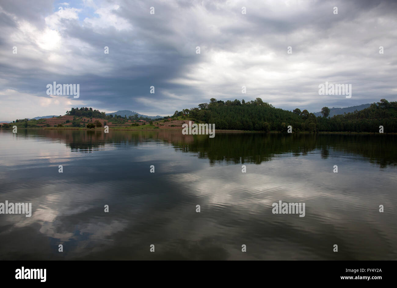 Photograph by © Jamie Callister. Lake Bunyonyi, South Uganda, Central Africa, 4th of March 2016 - Stock Image