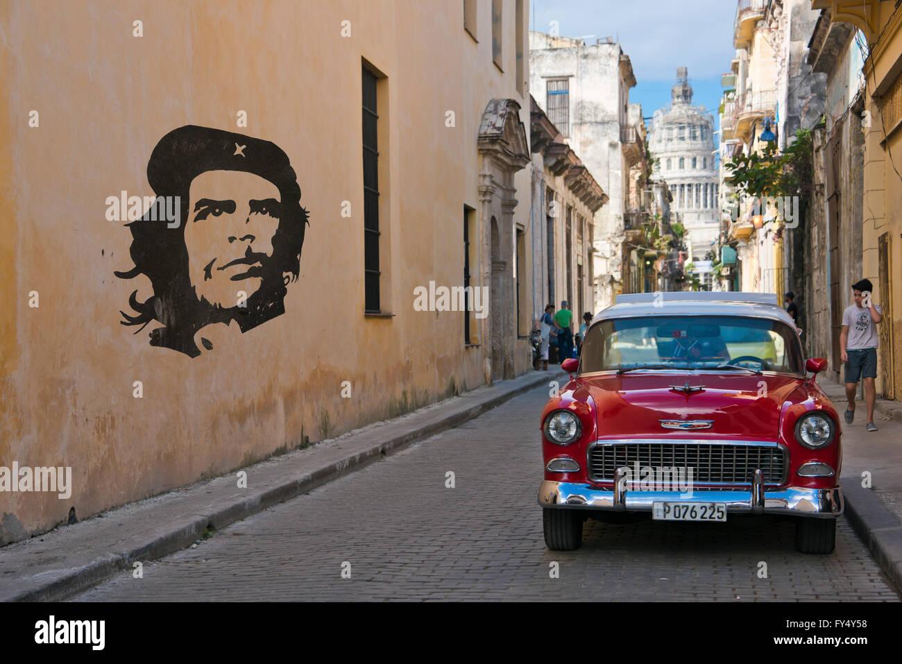 Horizontal streetscape in Old Havana, Cuba. - Stock Image