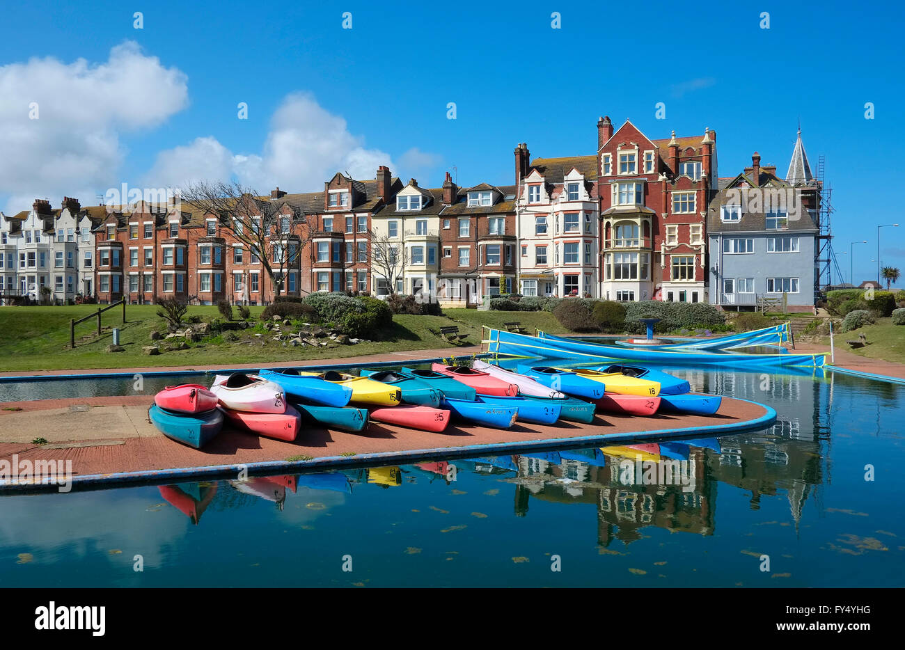 row of old victorian houses, cromer, north norfolk, england - Stock Image