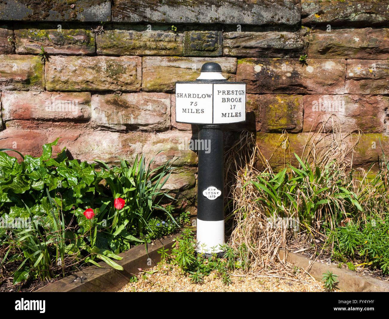 Sign post on the Trent and Mersey Canal in Middlewich Cheshire UK - Stock Image