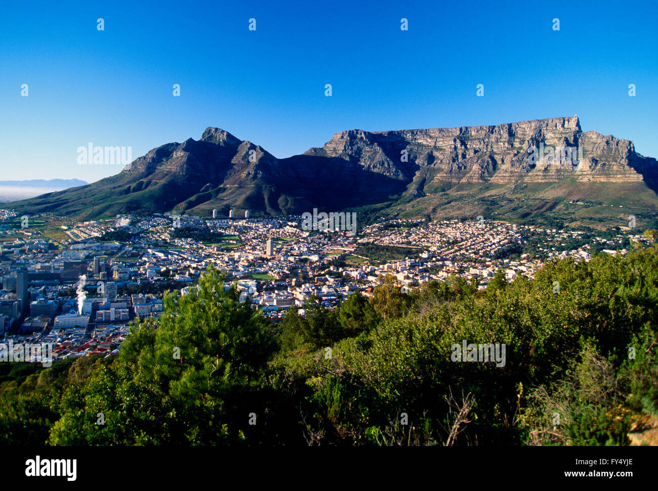 Overview of Cape Town; Cape Peninsula; South Africa; with Table Mountain - Stock Image