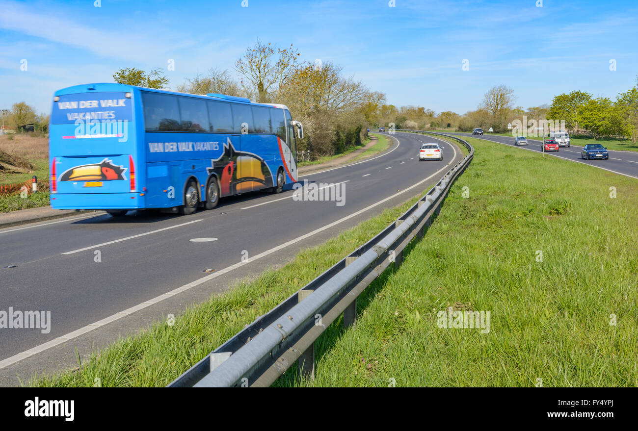 A27 Dual Carriageway with a coach travelling along it in Southern England, UK. - Stock Image