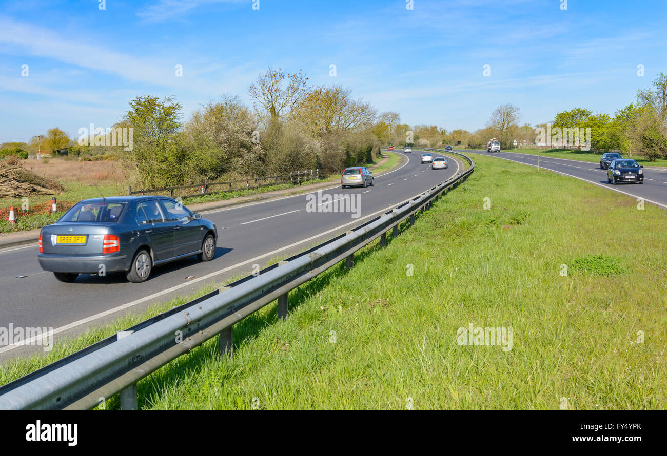 A27 Dual Carriageway with cars travelling along it in Southern England, UK. - Stock Image