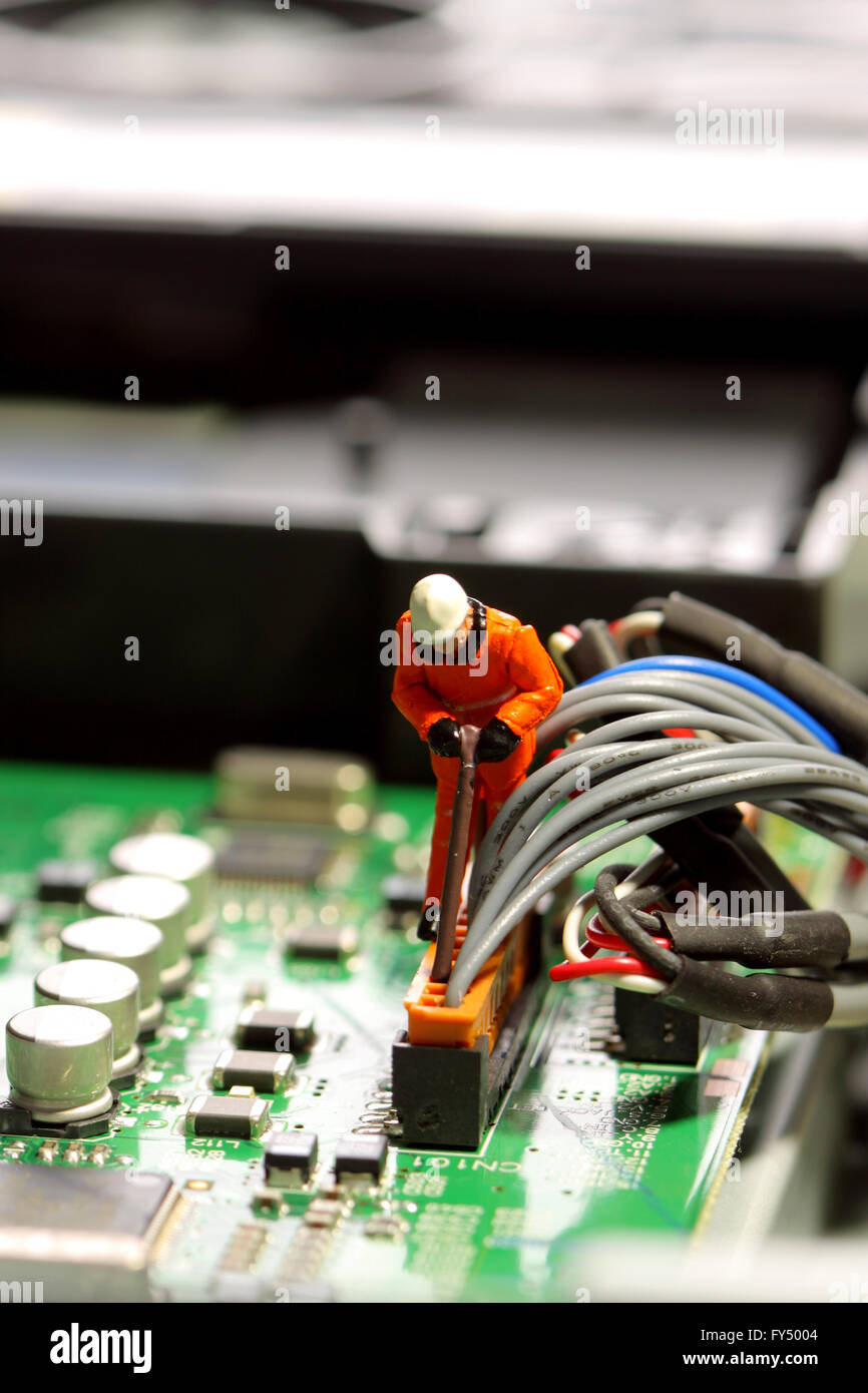 Miniature Construction Worker Wiring Circuit Board Stock Photo Electronic