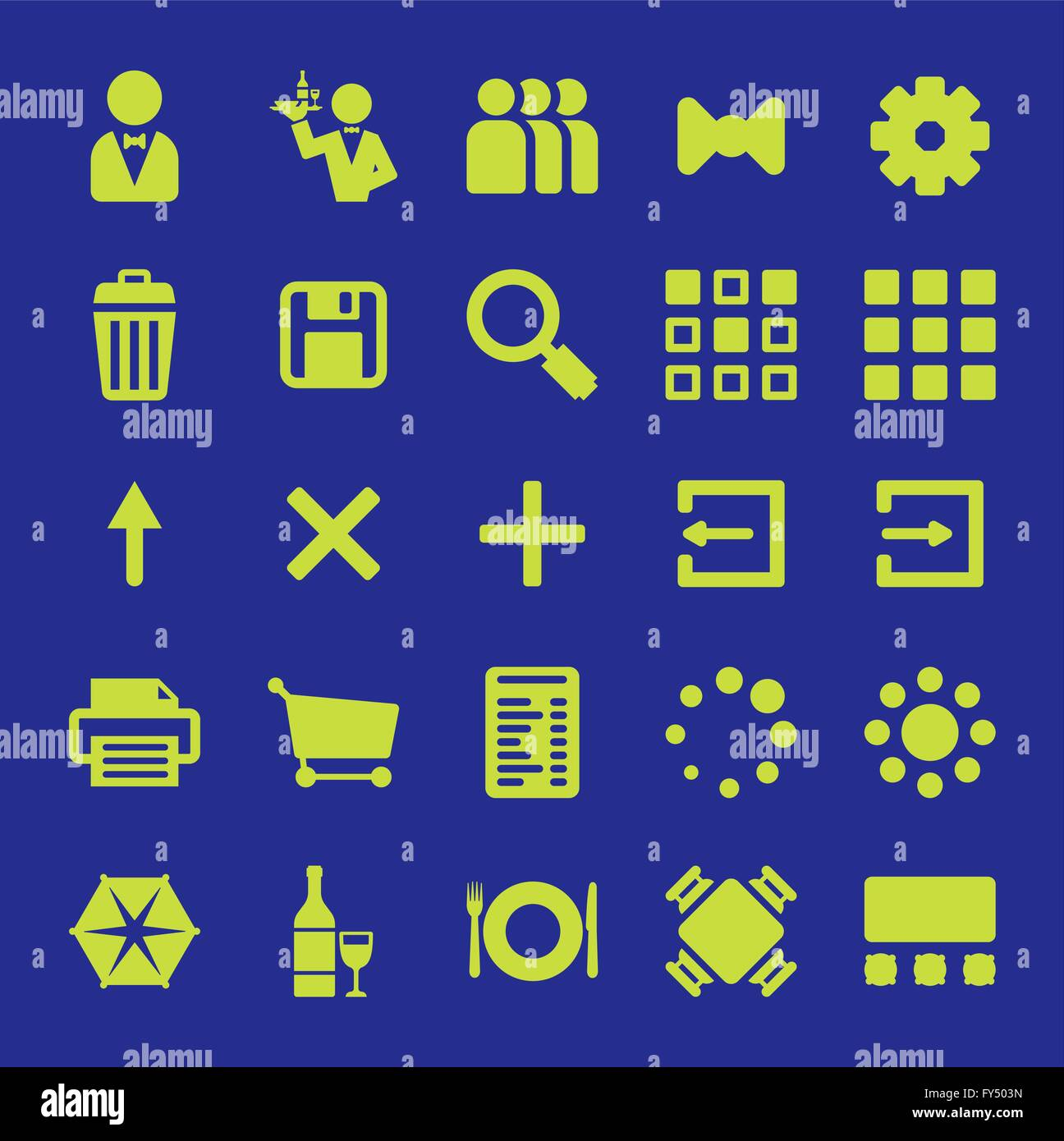 Restaurant Mobile App Vector Icon Design Set Collection Of Symbols