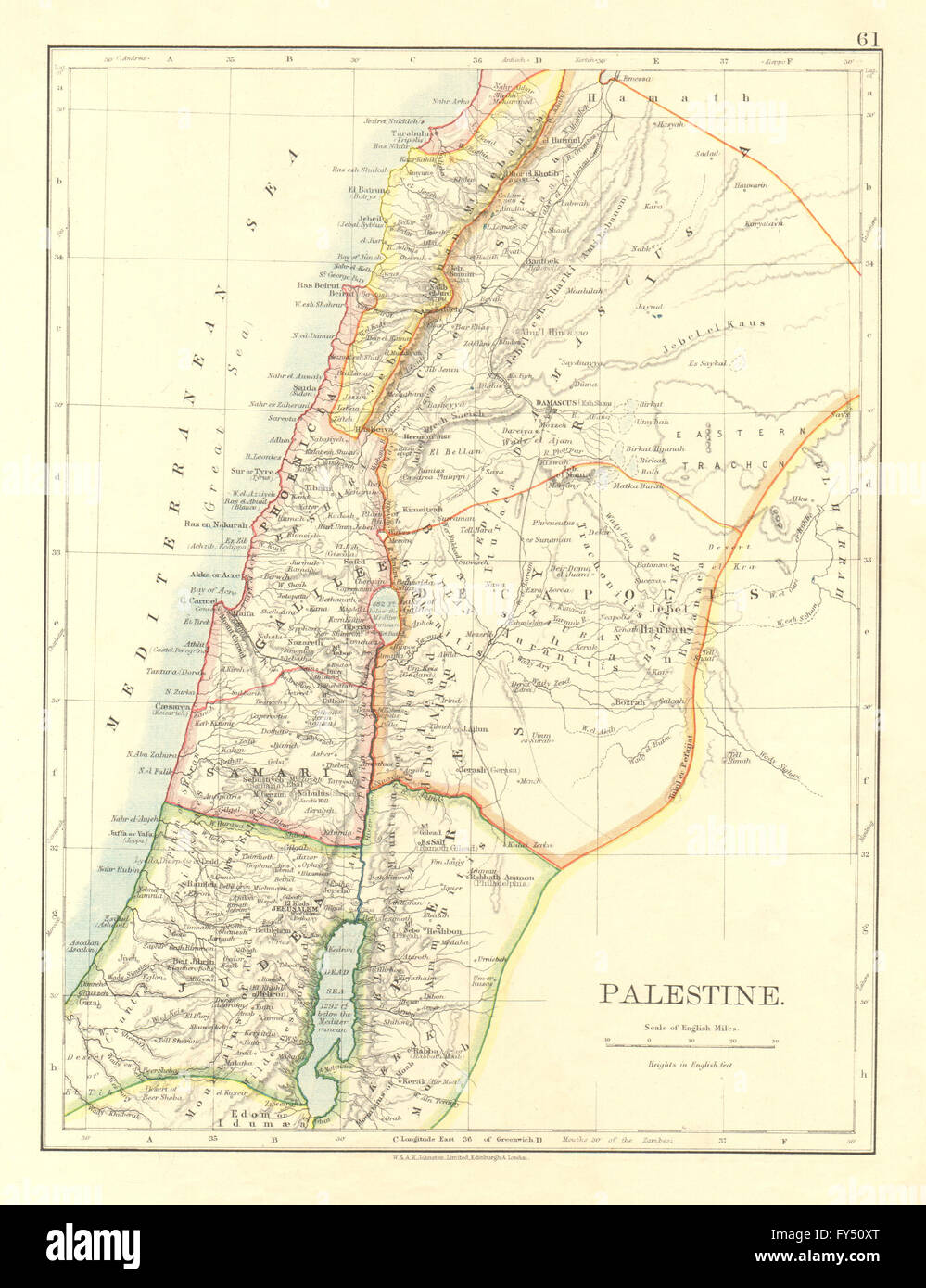 Palestine Galilee Samaria Judea Perea Phoenicia Decapolis Johnston 1906 Map
