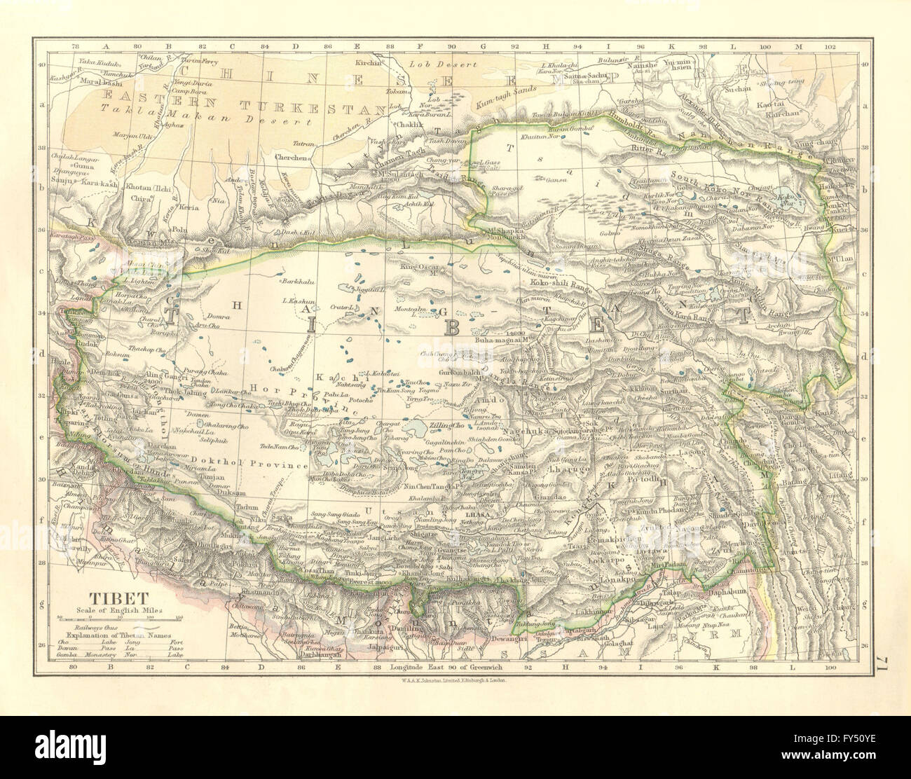 TIBET. Lhasa Chang Tang Himalayas Taklamakan desert. JOHNSTON, 1906 on