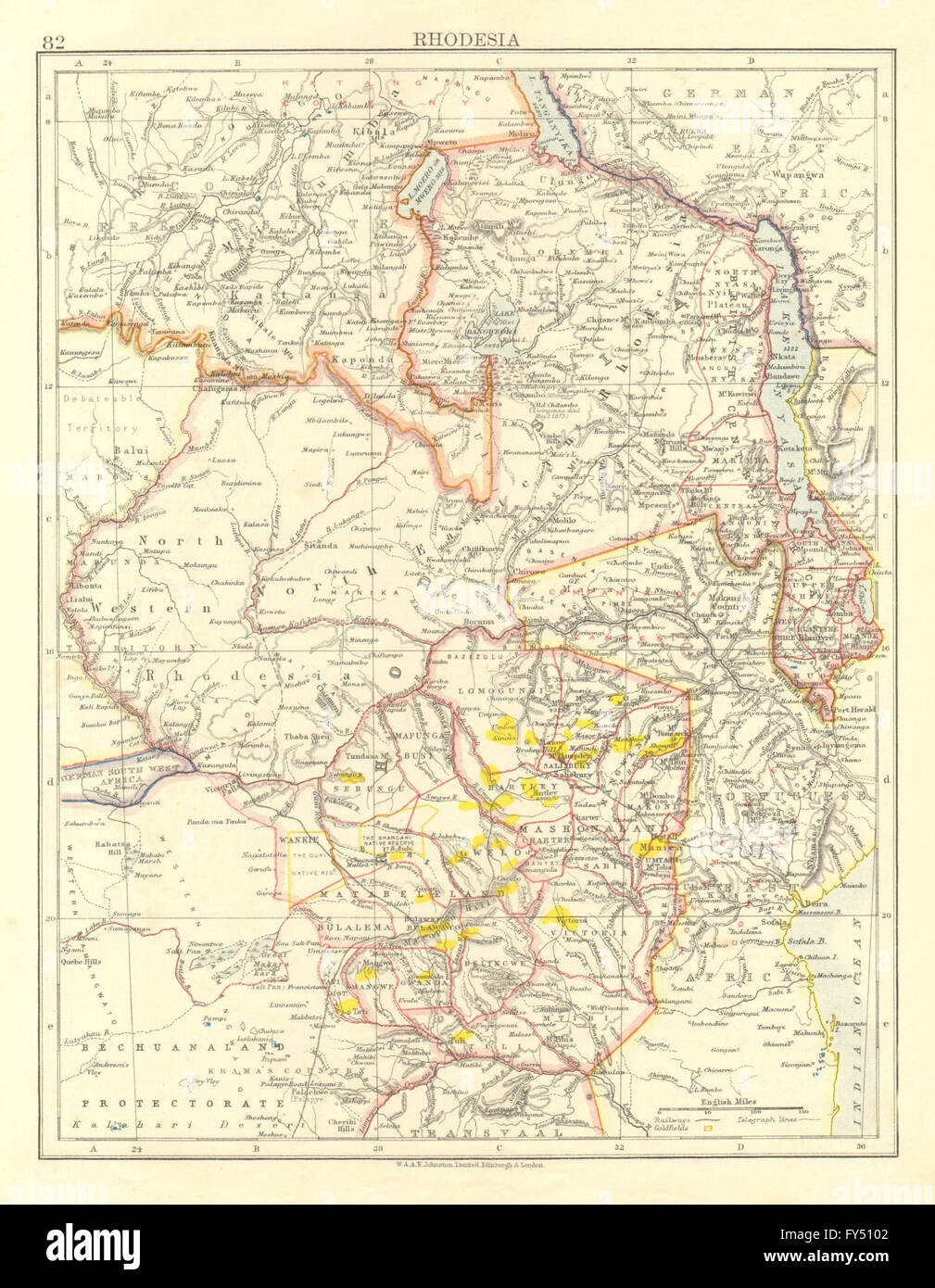 RHODESIA. Goldfields (yellow). Zambesia. Zambia Malawi Zimbabwe, 1906 old map - Stock Image