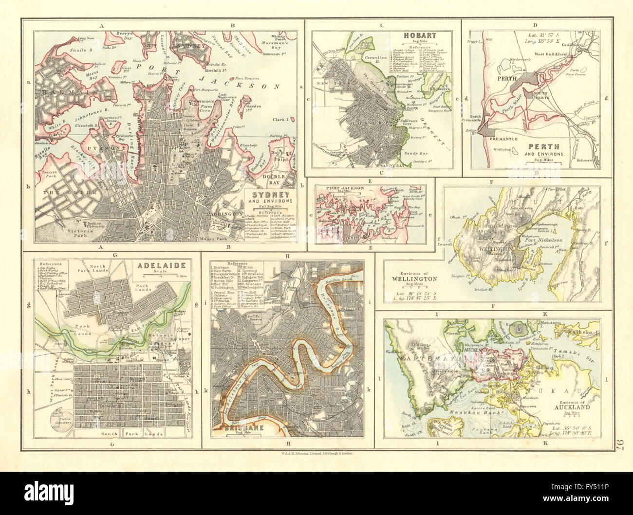 australia nz cities sydney hobart perth adelaide brisbane auckland 1906 map