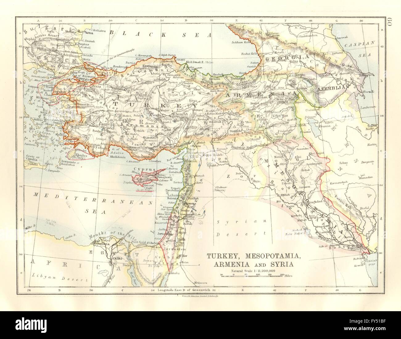 MIDDLE EAST. Treaty of Sevres. Armenia. Zone of Straits Stock Photo ...