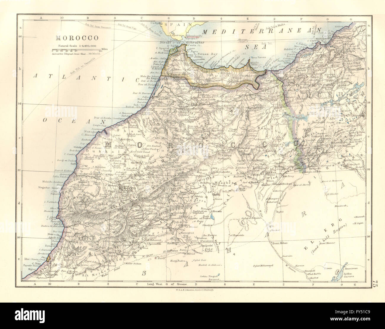 MOROCCO. Spanish protectorate. Protectorado español de Marruecos, 1920 old map - Stock Image