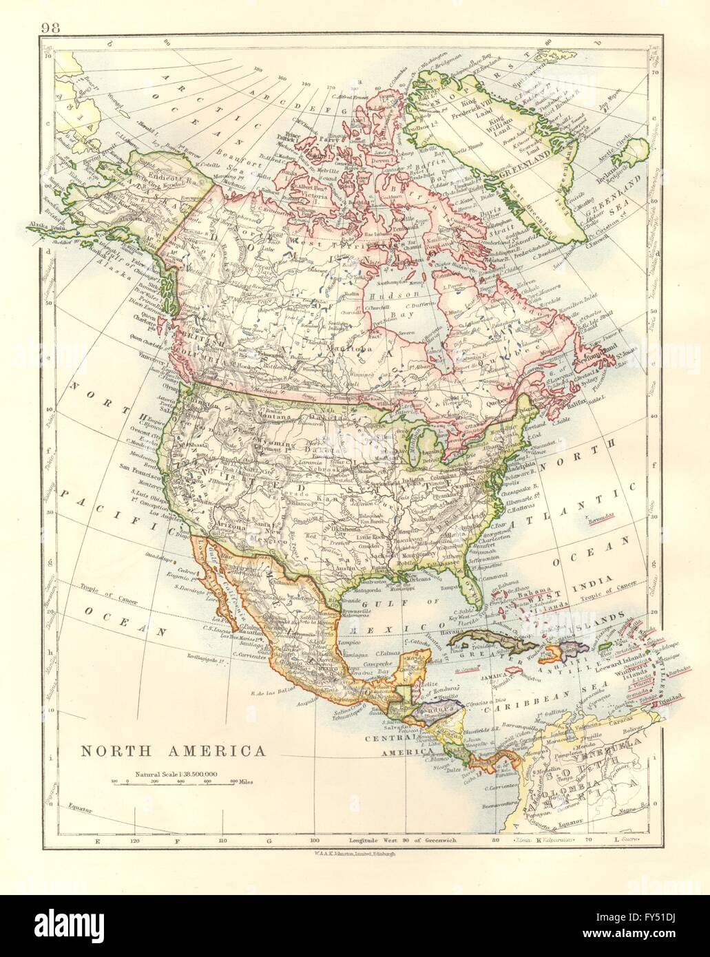 Map Of Usa And Canada And Mexico.North America Political Greenland Usa Canada Mexico Johnston 1920