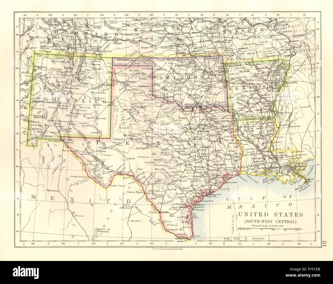 usa south centraltexas oklahoma arkansas new mexico louisiana 1920 old map