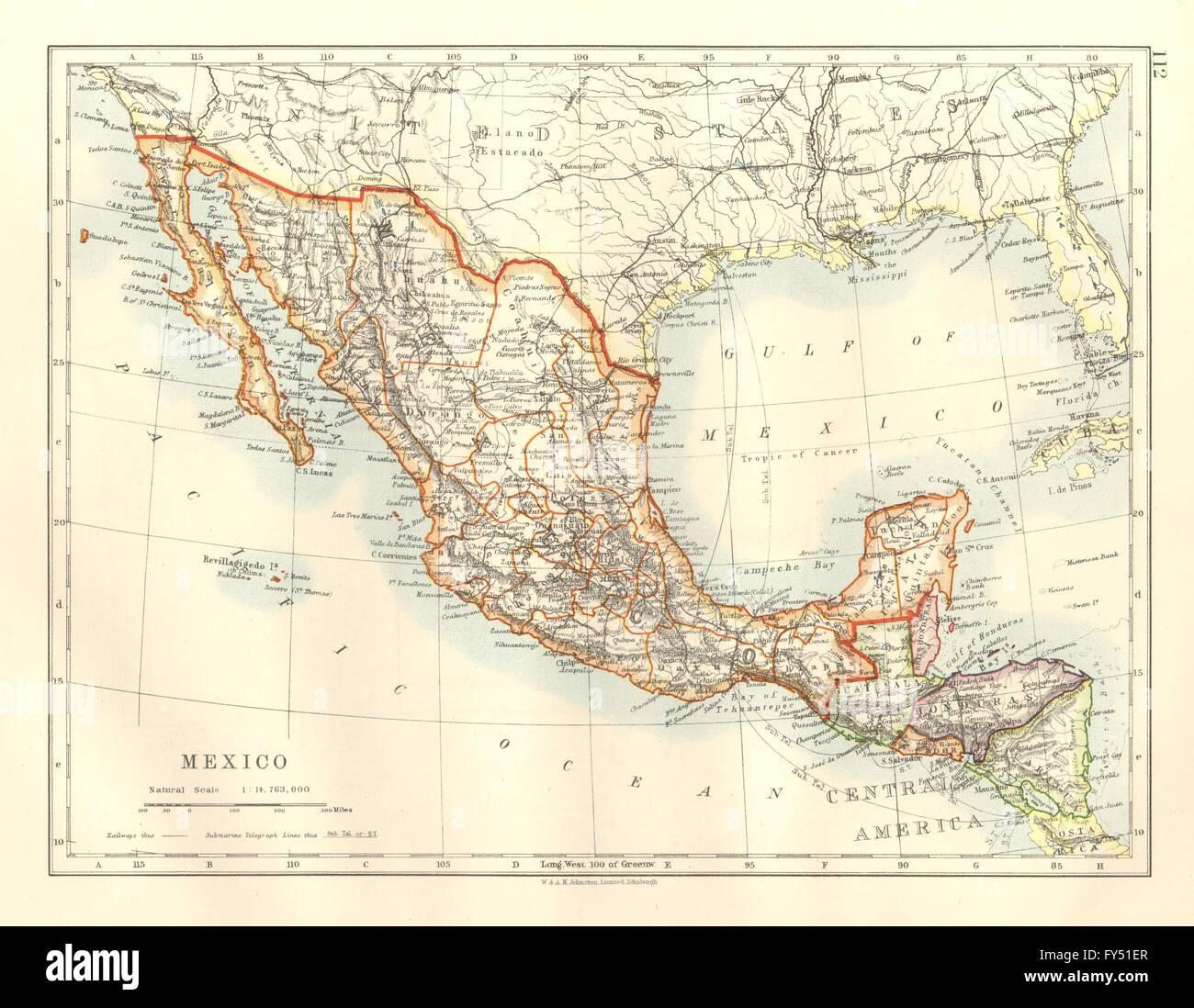 Honduras Mexico Map.Mexico Central America Guatemala British Honduras Nicaragua Stock