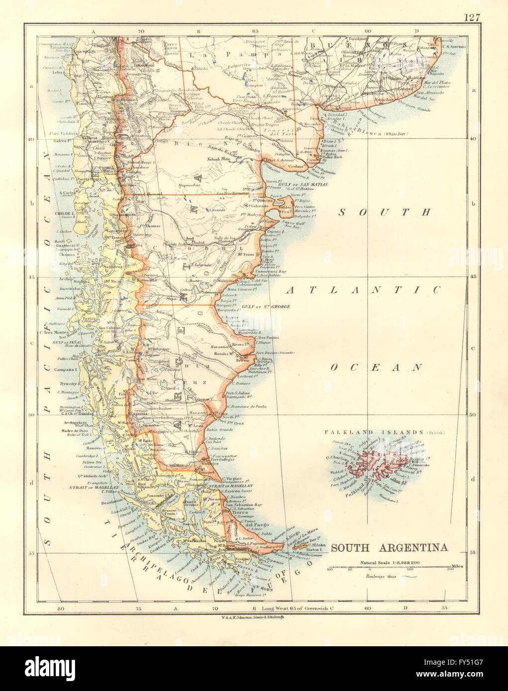 Patagonia southern argentina chile falkland islands johnston patagonia southern argentina chile falkland islands johnston 1920 map gumiabroncs Images