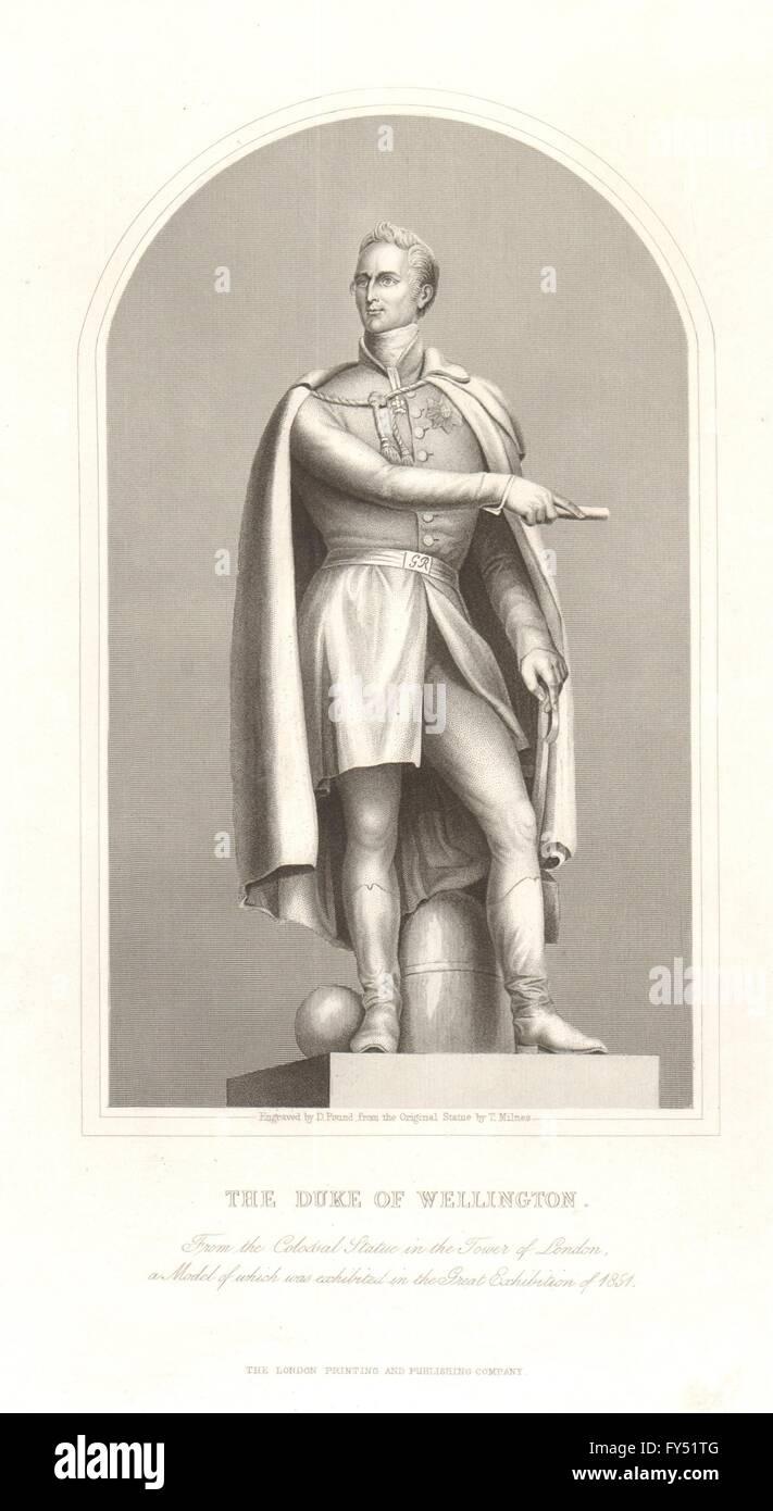 BRITISH HISTORY. The Duke of Wellington. TALLIS, antique print 1849 - Stock Image