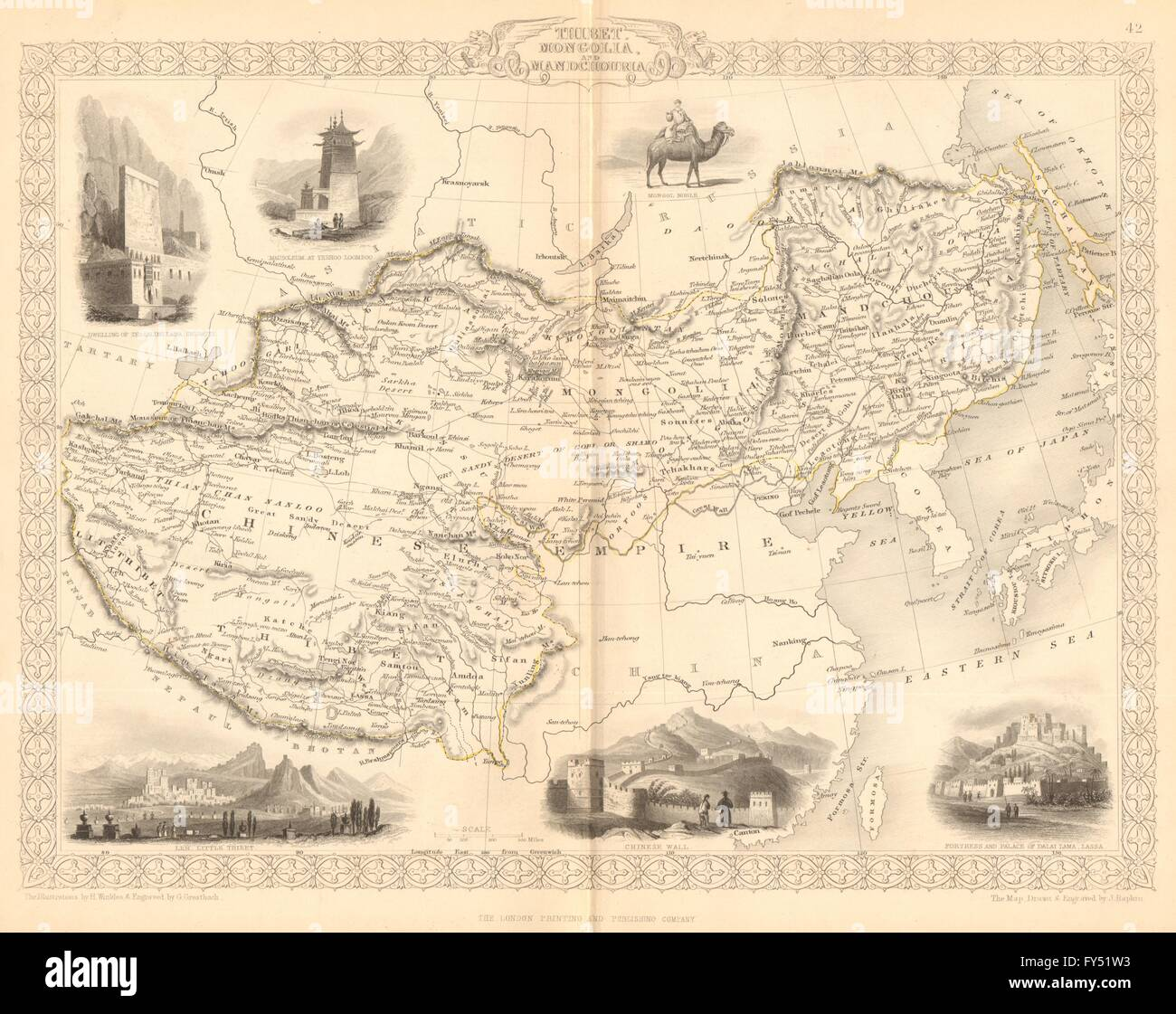 Lhasa China Map.Thibet Mongolia Mandchouria Tibet Manchuria Lhasa Stock Photo