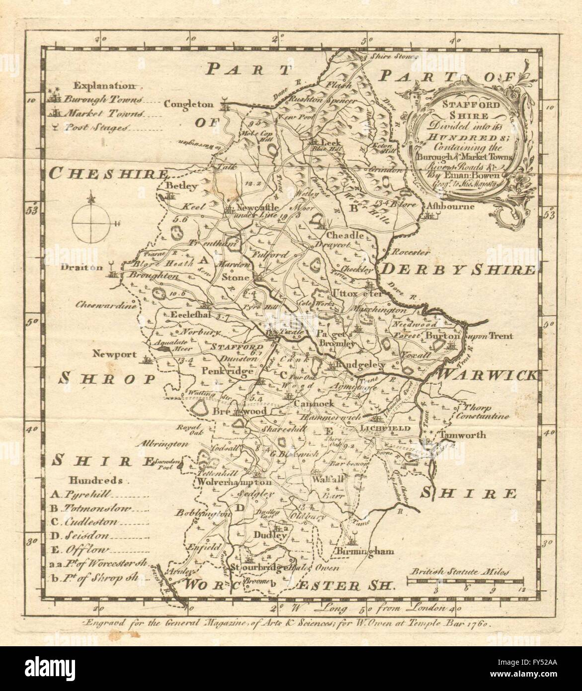 Antique map of Staffordshire by Emmanuel Bowen, 1760 - Stock Image