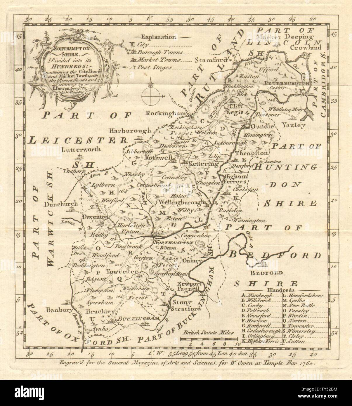 Antique map of Northamptonshire by Emmanuel Bowen, 1760 - Stock Image