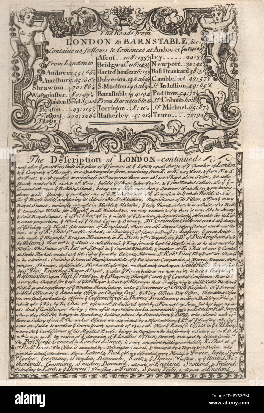 The Road from London to Barnstable. The Description of London - continued, 1753 - Stock Image