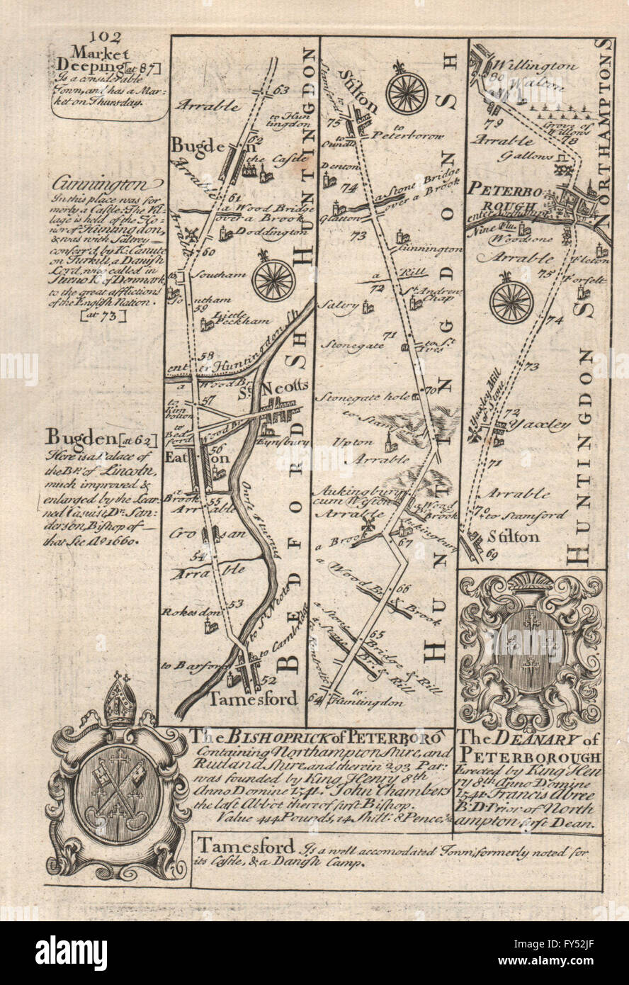 Europe Maps Royston-arrington-caxton-huntingdon-stilton Road Map By Owen & Bowen 1753
