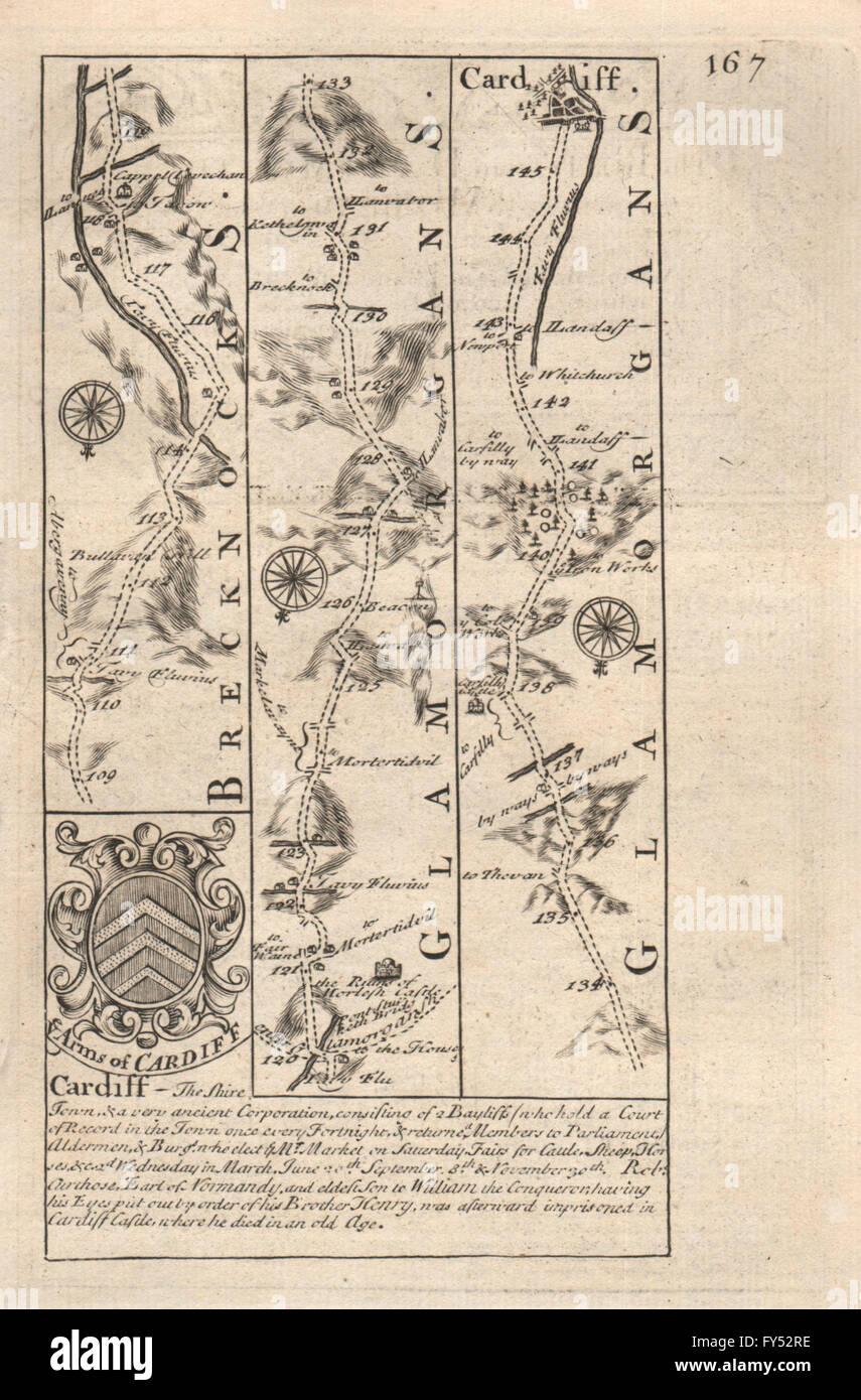 Royston-arrington-caxton-huntingdon-stilton Road Map By Owen & Bowen 1753 Maps, Atlases & Globes Art