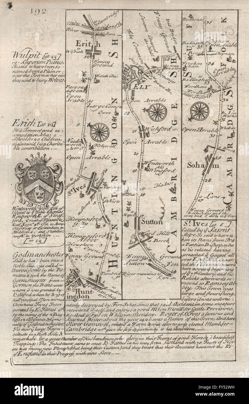 Huntingdon-St Ives-Earith-Sutton-Ely-Soham road map by OWEN & BOWEN, 1753 - Stock Image