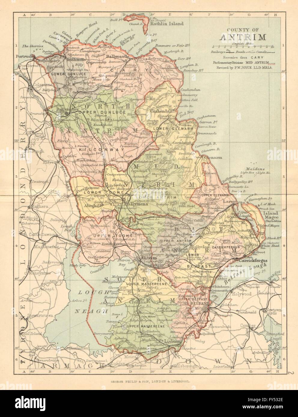 Bartholomew 1886 Ulster Belfast Lisburn County Antrim Antique County Map