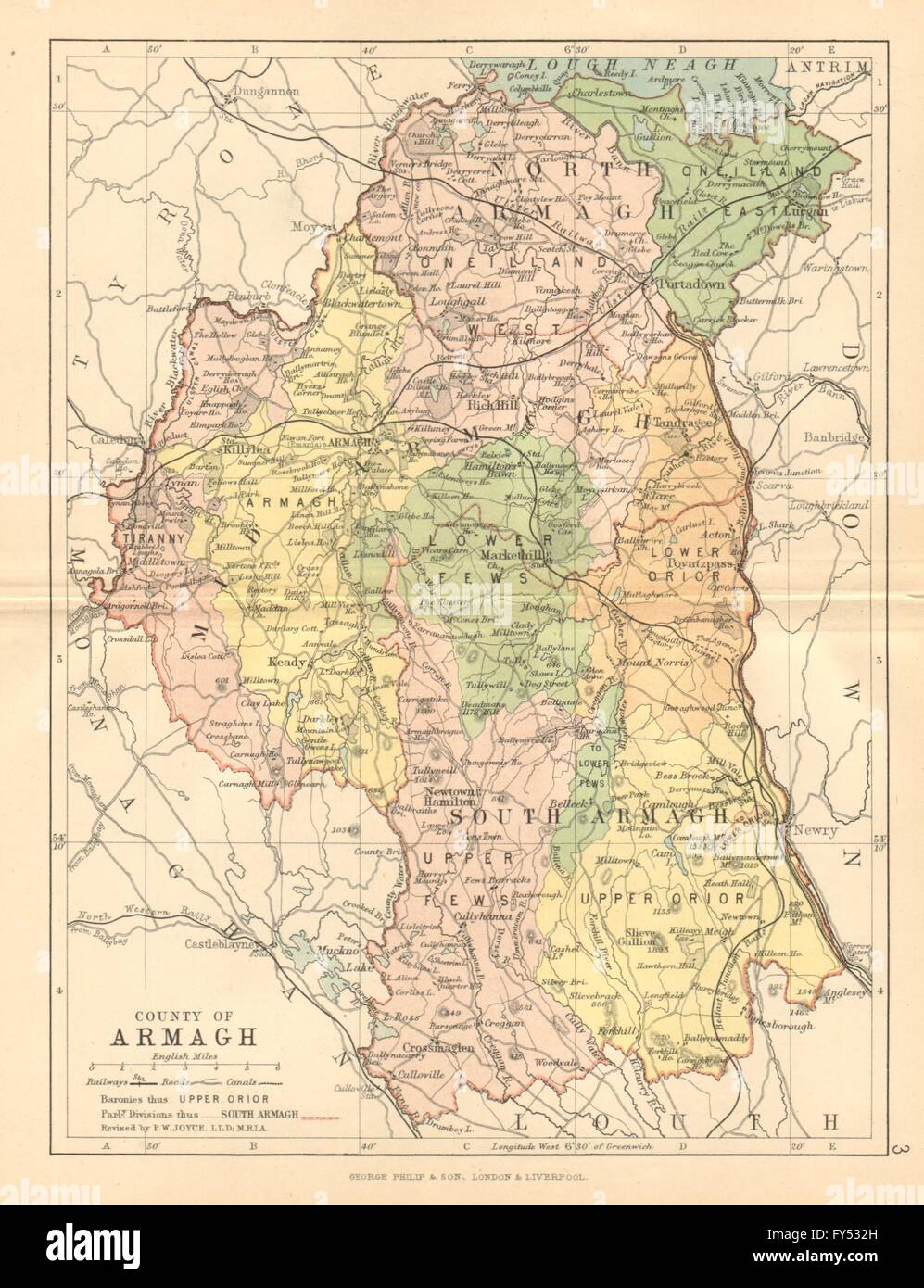 County Armagh Ireland Map.County Armagh Antique County Map Ulster Portadown N Ireland Stock