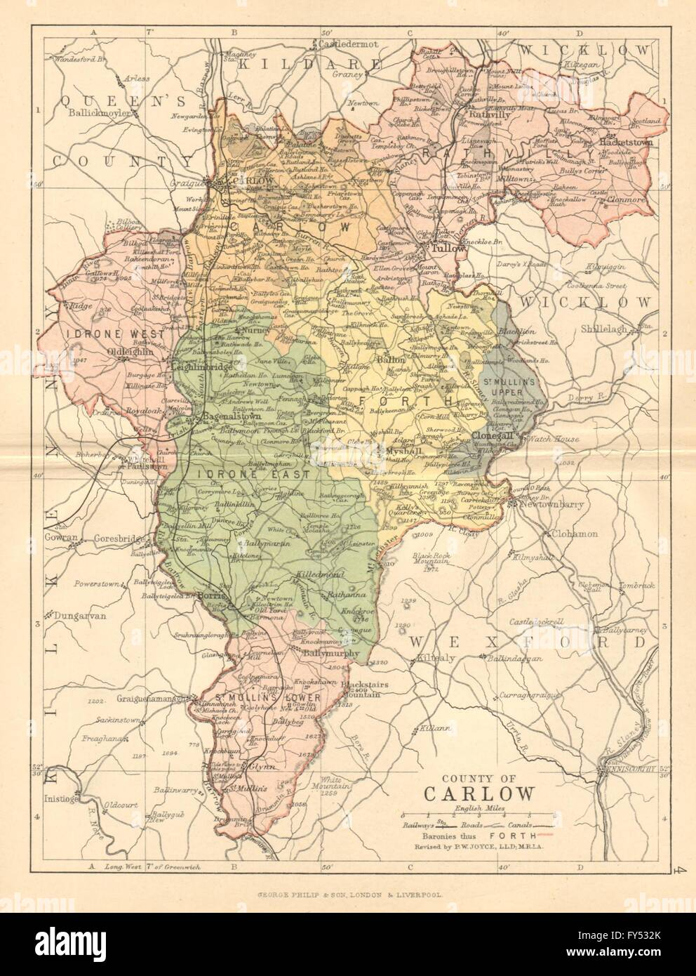 County Carlow Antique County Map Leinster Ireland Bartholomew