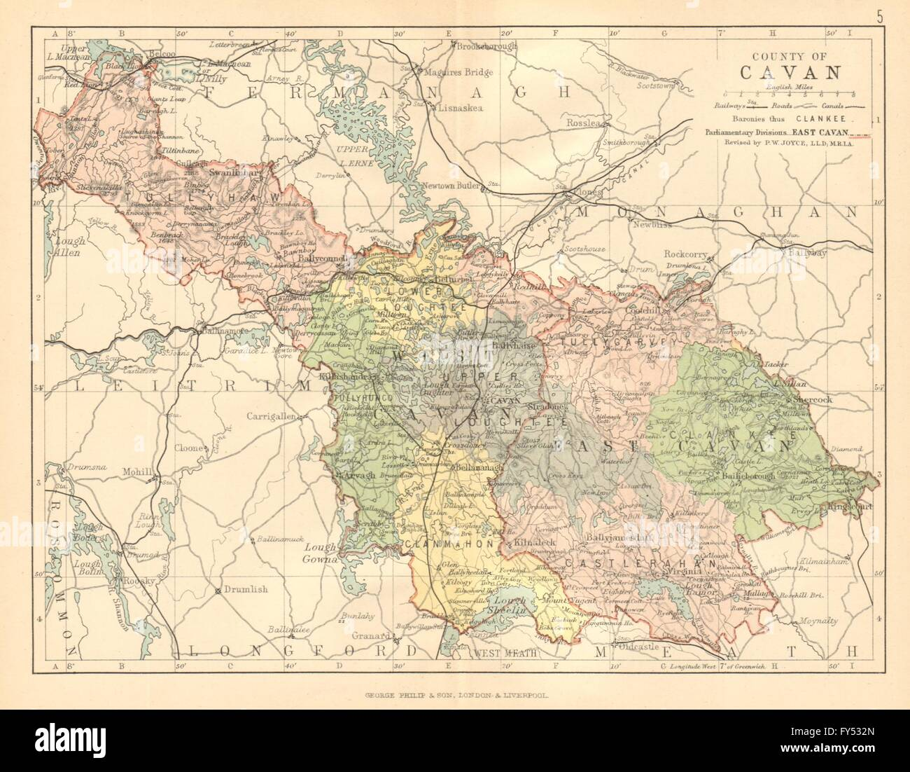 Map Of Ireland Cavan.County Cavan Antique County Map Ulster Ireland Bartholomew