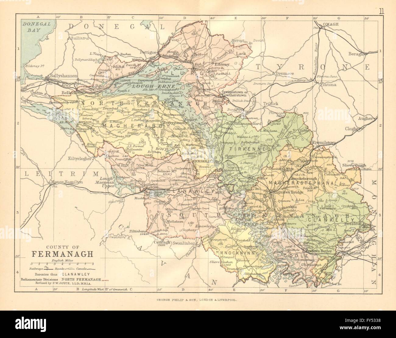 County Fermanagh Antique County Map Ulster Northern Ireland Stock