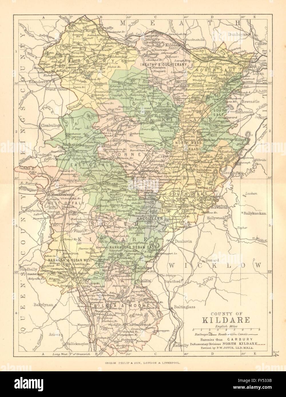 County Kildare Antique County Map Leinster Ireland Bartholomew