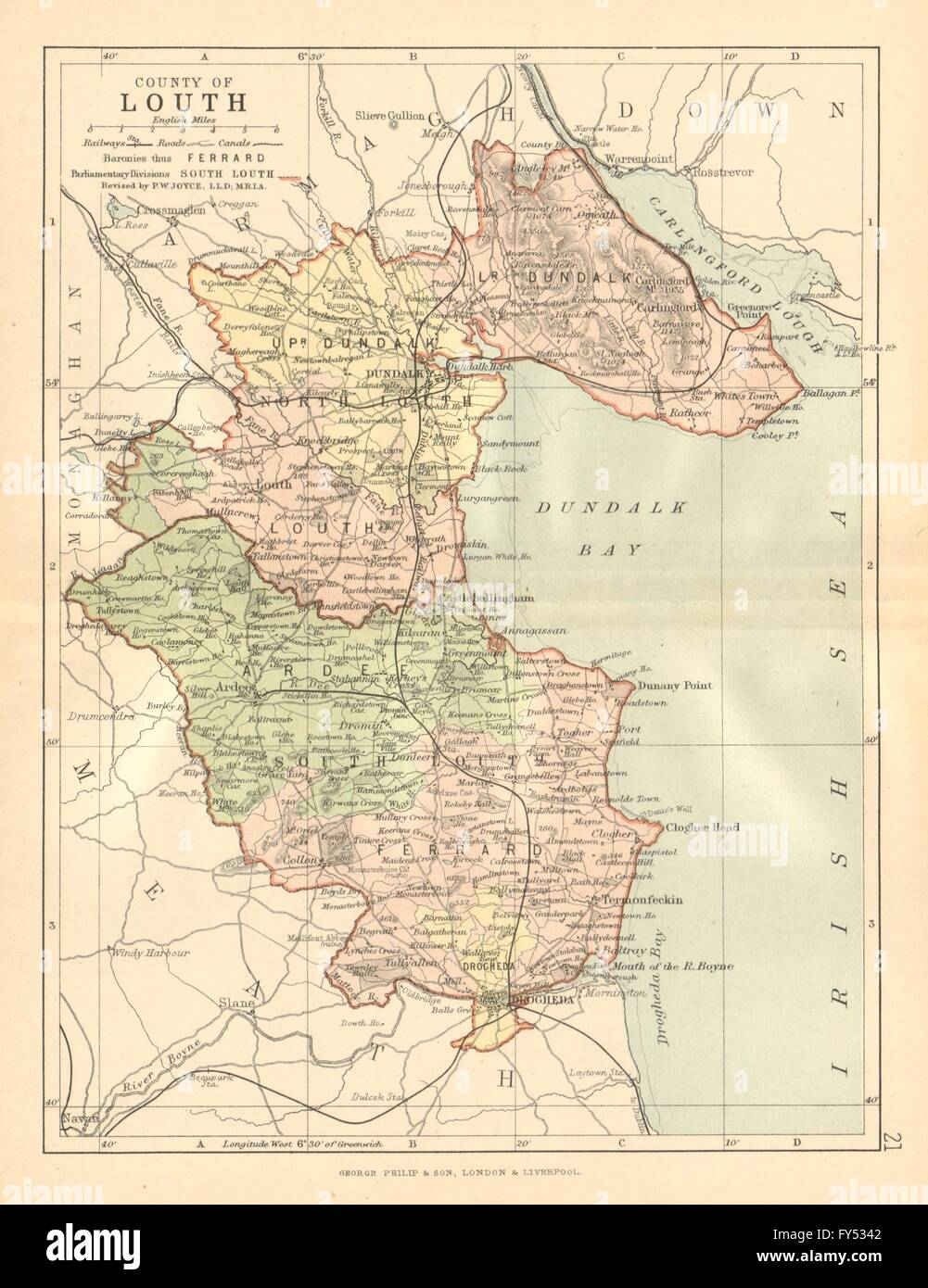 Map Of Ireland Leinster.County Louth Antique County Map Leinster Ireland Bartholomew