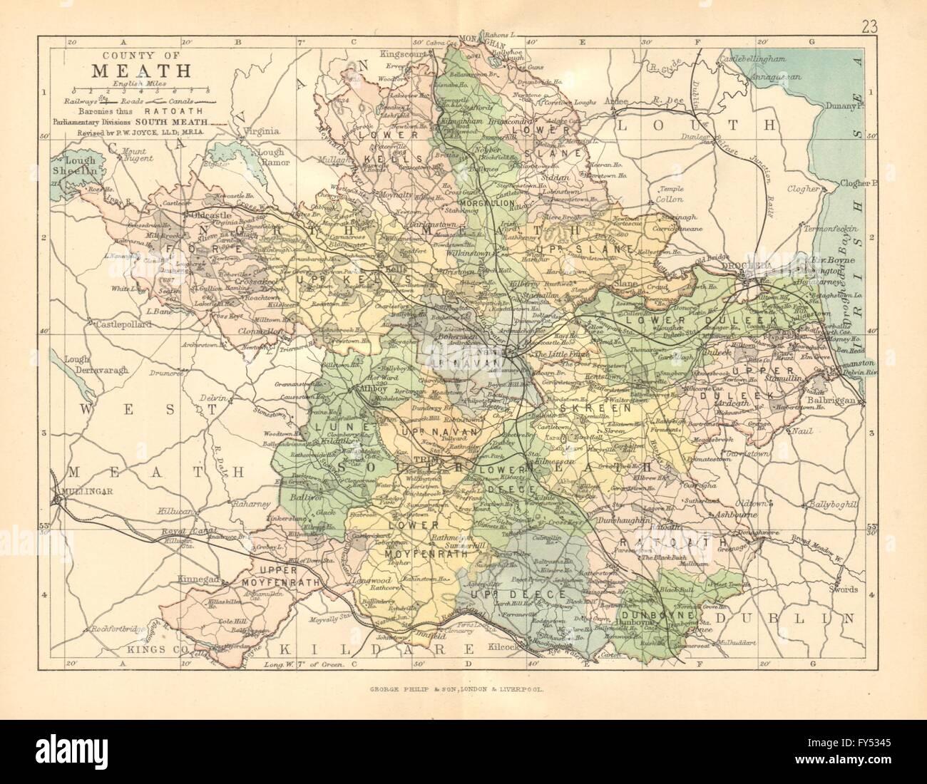 County Meath Antique County Map Leinster Ireland Bartholomew