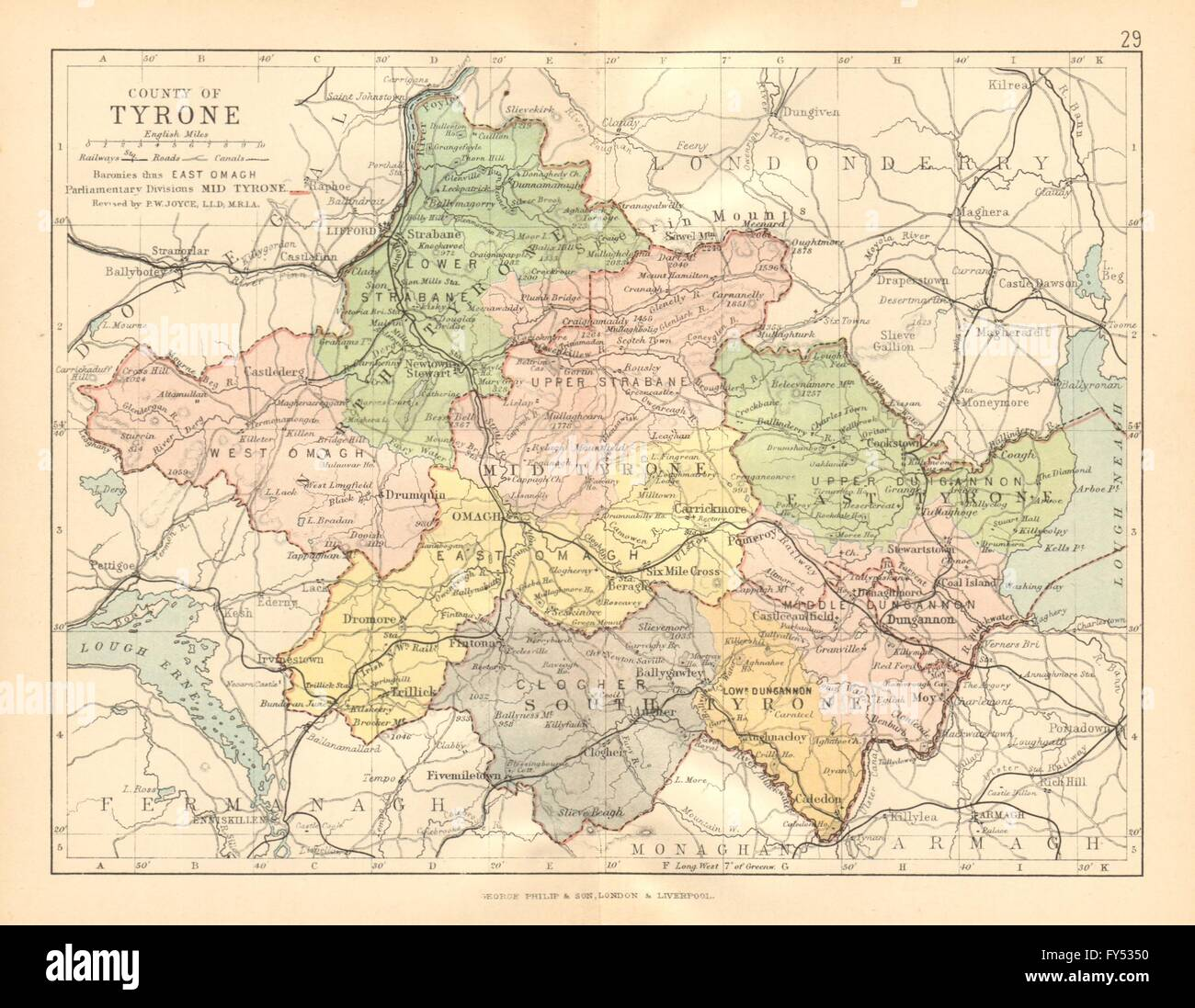 County Tyrone Antique County Map Ulster Northern Ireland Stock Photo Alamy
