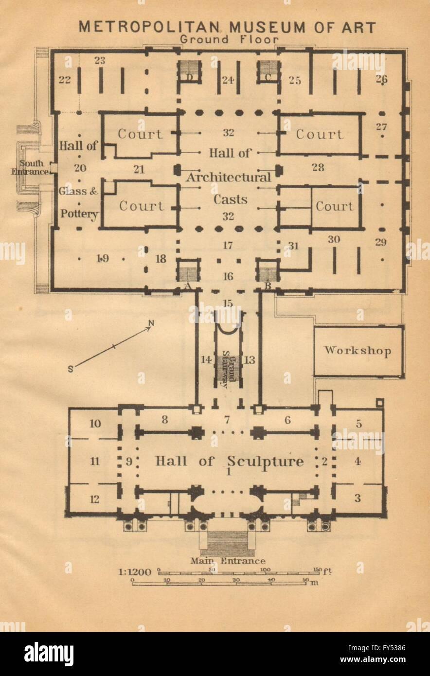 Metropolitan Museum Of Art Ground Floor New York Baedeker 1904 Antique Map Stock Photo Alamy