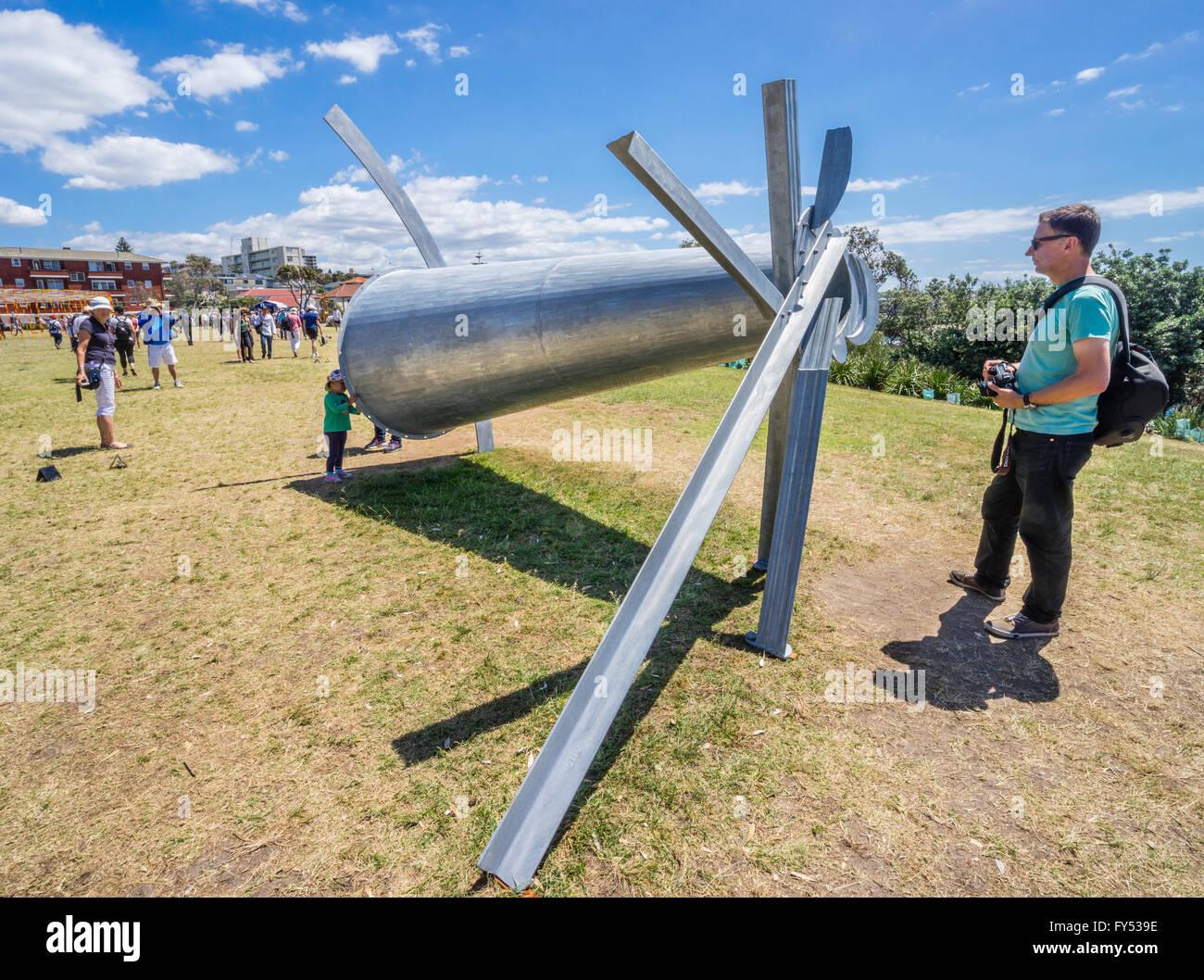 Sculpture by the Sea 2015, annual open air art exhibition along the coastal walk betwen Bondi and Tamarama, Sydney, - Stock Image