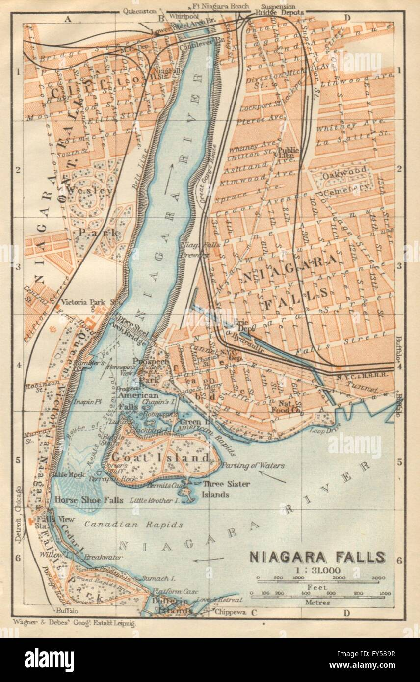 Niagara Falls Antique Town City Plan New York State
