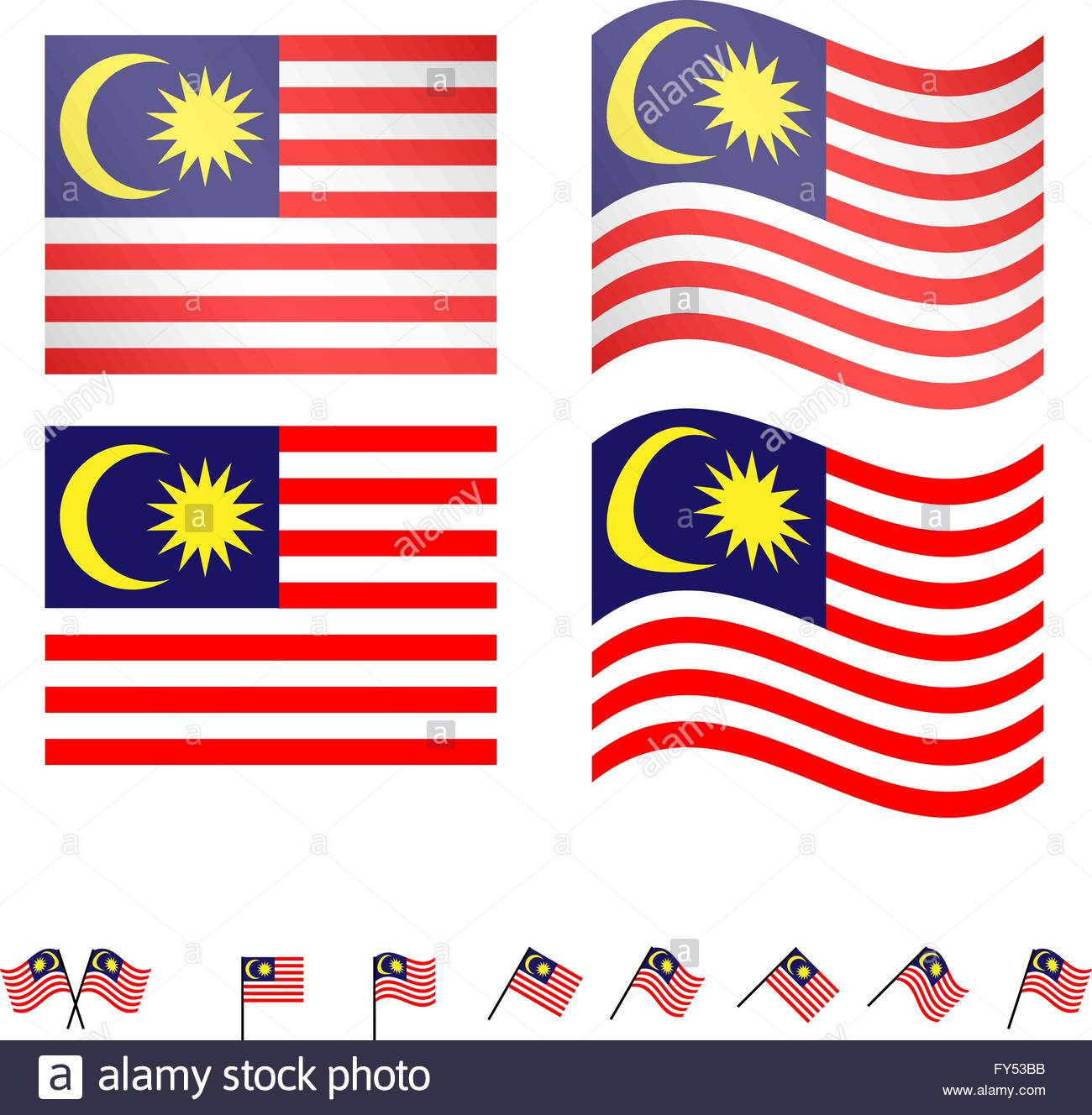 Malaysia Flags EPS 10 - Stock Vector