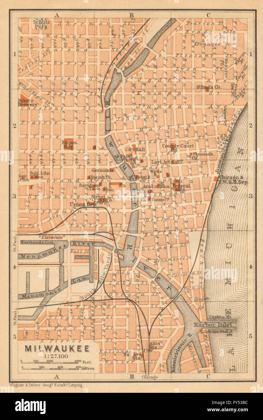 MILWAUKEE antique town city plan. Wisconsin. BAEDEKER, 1904 antique on