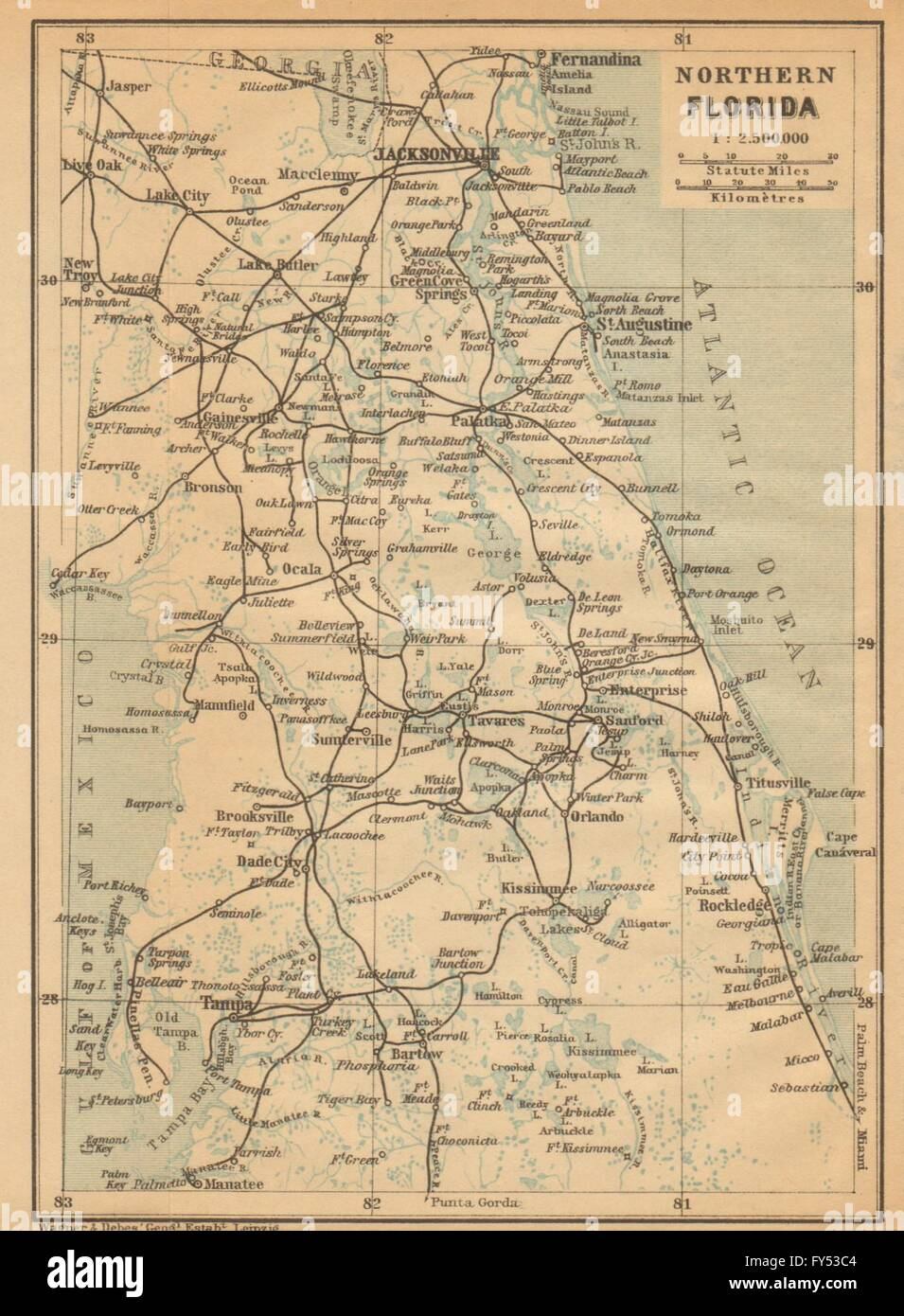 Northern Florida Map.Northern Florida Jacksonville St Augustine Tampa Baedeker 1904