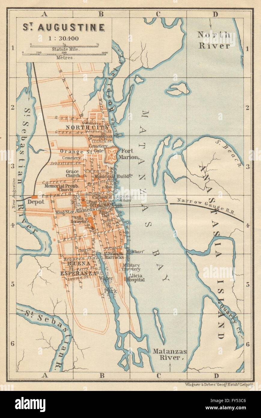ST AUGUSTINE Antique Town City Plan Florida BAEDEKER 1904 Map