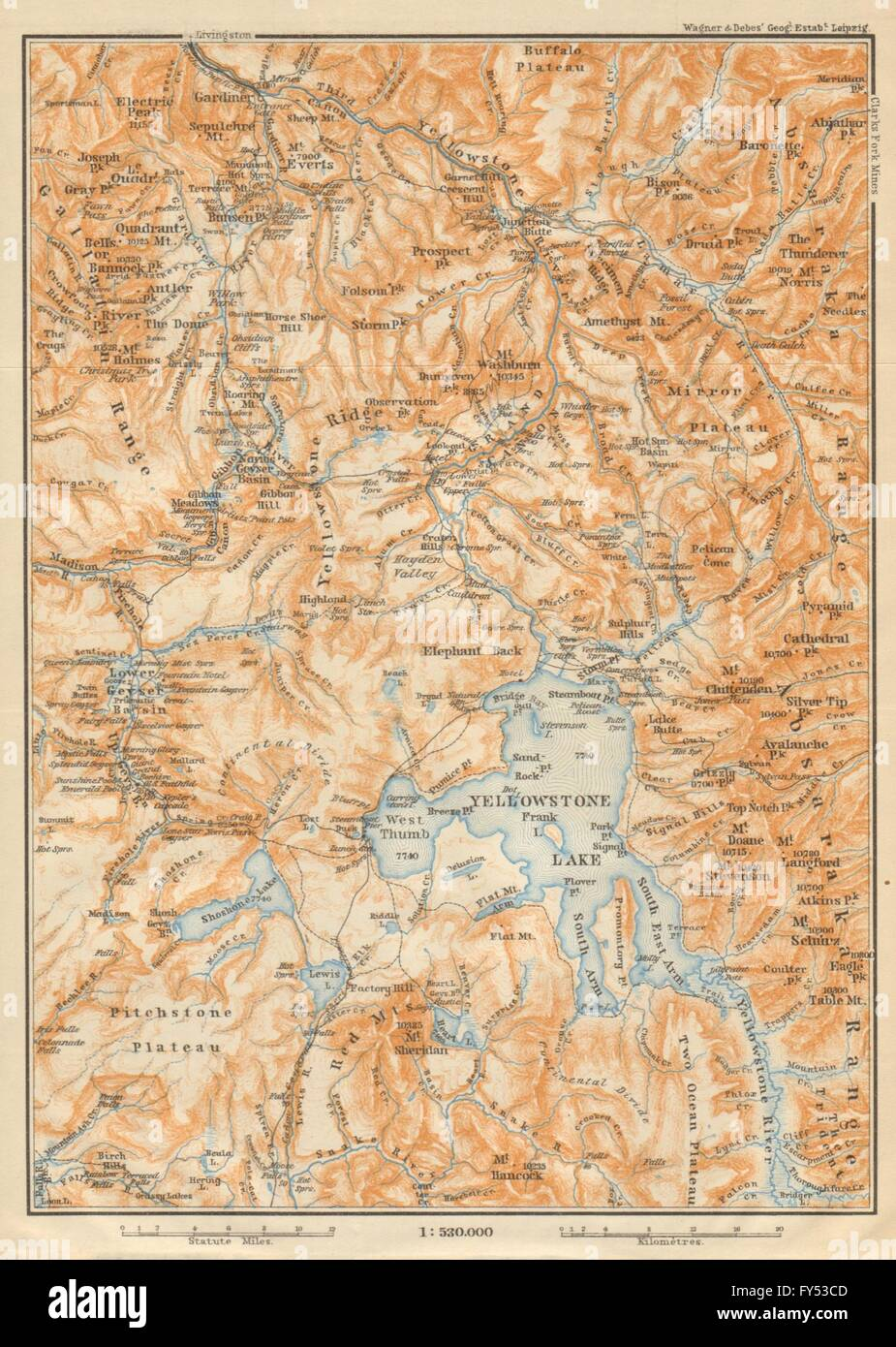 Topographic Map Of Yellowstone.Yellowstone National Park Topo Map Wyoming Baedeker 1904 Stock